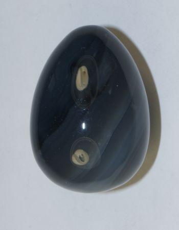 Яйцо из серо-синего глазкового агата №1