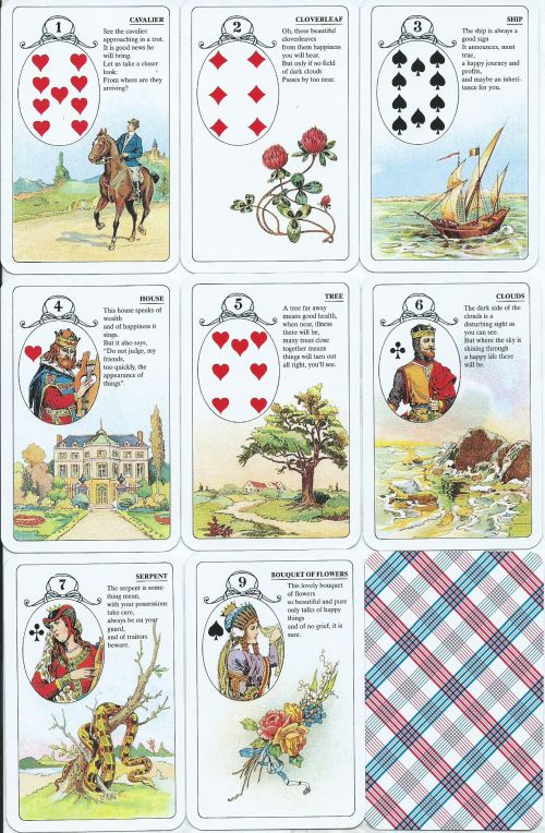LenormanD. Fortune Telling cards According to the method of mademoiselle Lenormand. (36 карт + инструкциия на англ. яз.).