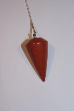 Маятник для биолокации из природного камня. Яшма красная. (Круглый)