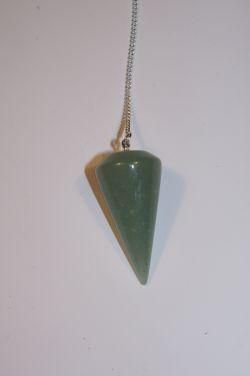 Маятник для биолокации из природного камня. Авантюрин зеленый. (Круглый)
